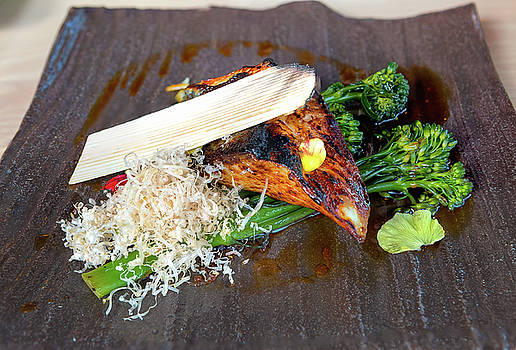 Grilled Miso Black Cod with Broccoli Closeup by Jit Lim