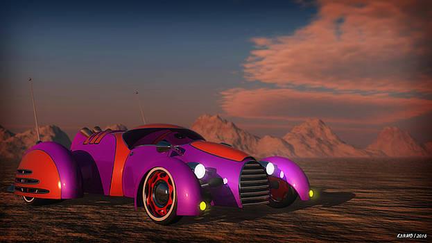 Grobo Car in a Desert Setting by Ken Morris
