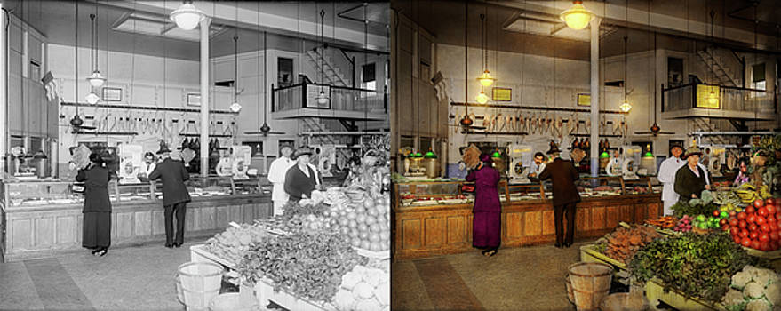 Grocery - Butcher - Sale on pork today 1920 - Side by Side by Mike Savad