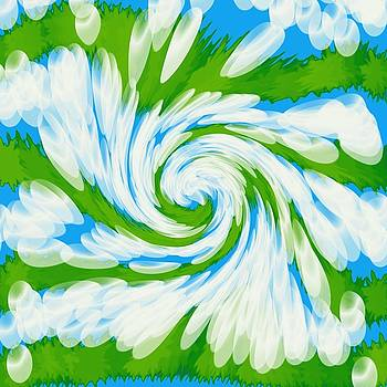 Groovy Green Blue Swirl by BrightVibesDesign