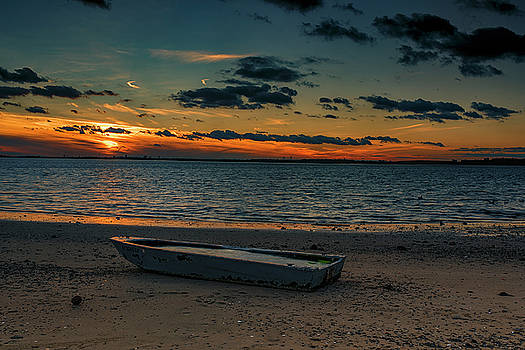 Grounded Boat Sunset by Dennis Clark