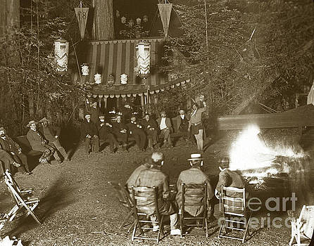 California Views Mr Pat Hathaway Archives - Group of men sitting around campfire, Bohemian Grove August 1901