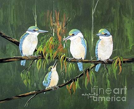 Group of Sacred Kingfishers by Audrey Russill