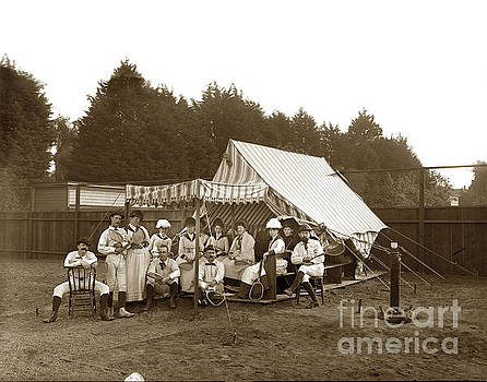 Group on Tennis Ground Group of tennis players on the ground by a tent by California Views Mr Pat Hathaway Archives