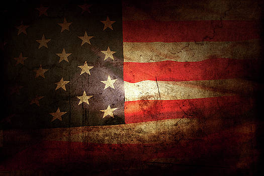 Grunge American flag 13 by Les Cunliffe