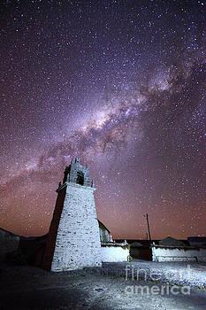 James Brunker - Guallatiri Village Church and Milky Way Chile