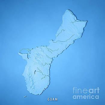 Guam Island 3D Render Topographic Map Blue by Frank Ramspott