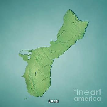 Guam Island 3D Render Topographic Map  by Frank Ramspott
