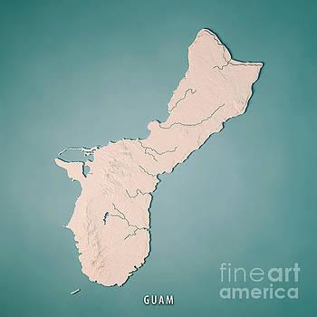 Guam Island 3D Render Topographic Map Neutral by Frank Ramspott