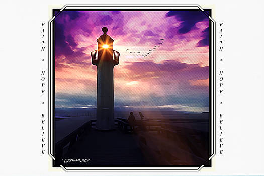 Guiding Light - A Lighthouse Watercolor - Encouragement Cards by Linda Ouellette
