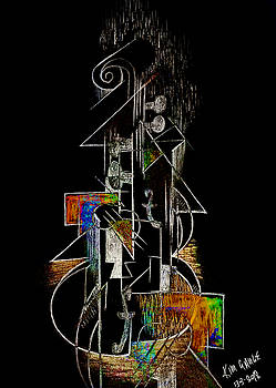 Guitar Abstract in Black by Kim Gauge