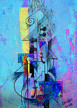 Guitar Abstract in Blue by Kim Gauge