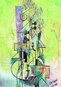 Guitar Abstract in Green by Kim Gauge