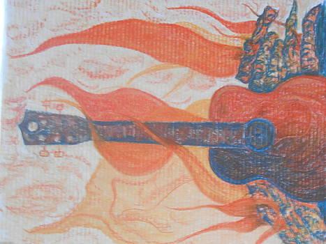 Guitar Fireplace Side View by Darlene Custer