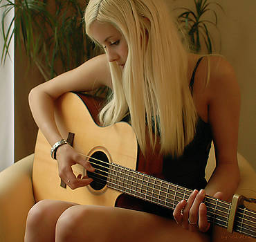Guitar Playing Girl by Val Mont