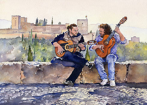 Guitarists En Plaza San Nicolas Granada by Margaret Merry