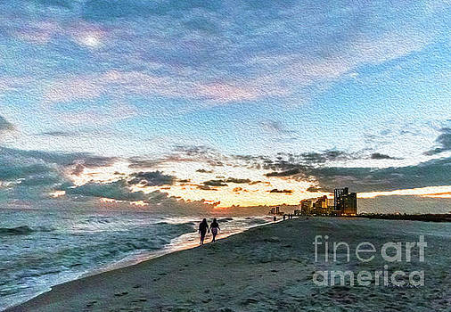 Gulf Shores Beach Sunset Seascape 0272A Digital Painting by Ricardos Creations