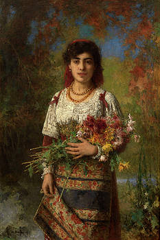 Gypsy Girl with Flowers by Alexei