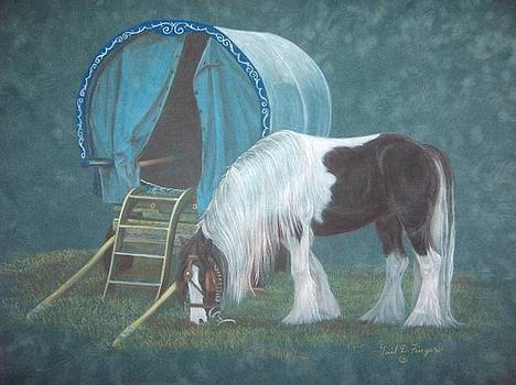 Gypsy Horse and Wagon by Gail Finger