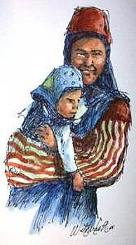 Gypsy Mother And Child   by Larry Wetherholt