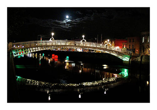 Ha Penny Bridge under Full Moon by Natalie Evans