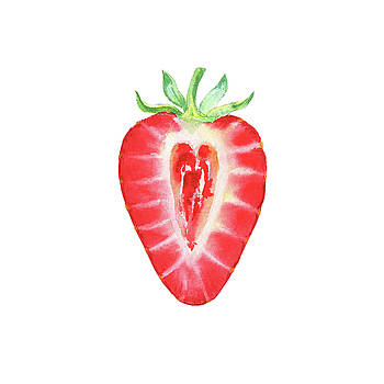 Half Cut Strawberry Watercolor by Irina Sztukowski