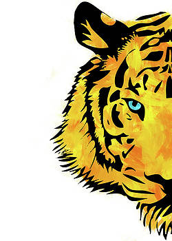 Half Tiger Digital Painting by Ricky Barnard