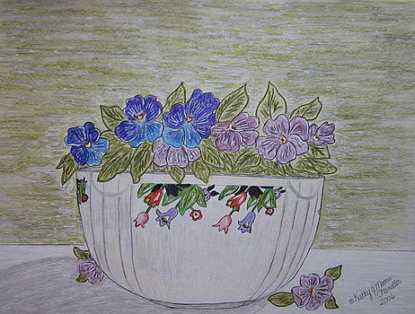 Hall China Crocus Bowl with Violets by Kathy Marrs Chandler