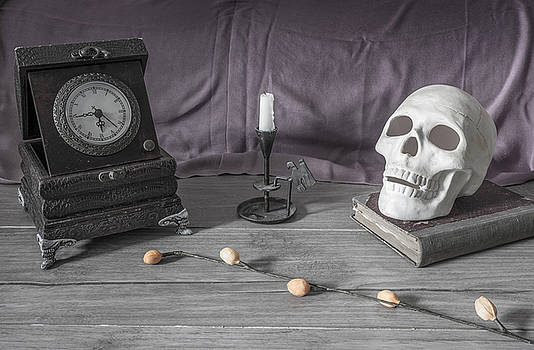 Halloween background ,scull, candles, book by Julian Popov