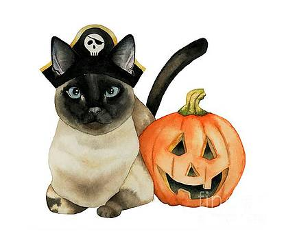 Halloween Siamese Cat with Jack O' Lantern by NamiBear