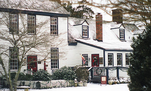 Hallsborough Tavern At Christmas In the Snow Rear Entrance by Suzanne Powers