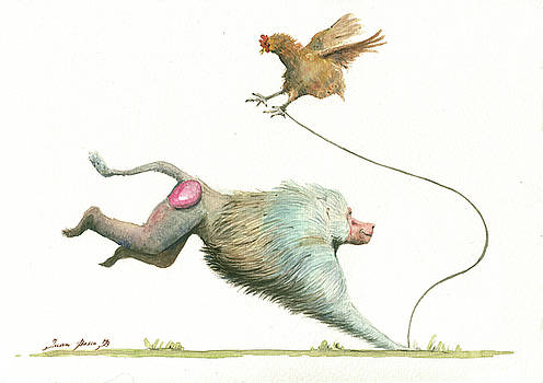 Juan Bosco - Hamadryas baboon with hen
