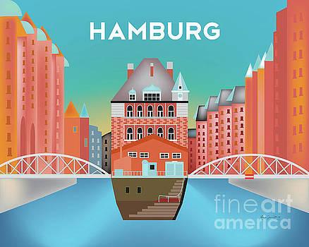 Hamburg, Germany Horizontal Skyline by Karen Young