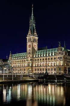 Hamburg Town Hall at night by Marc Huebner