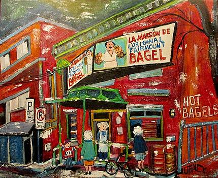 Hampstead Ladies at the Bagel Factory by Michael Litvack