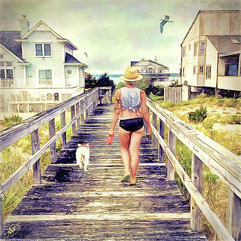 Hampton Beach Walk by Tom Schmidt
