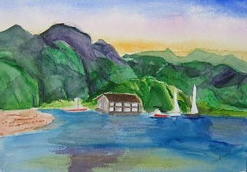Hanalei Bay Boathouse in Kauai Hawaii by Joan Wallace Reeves