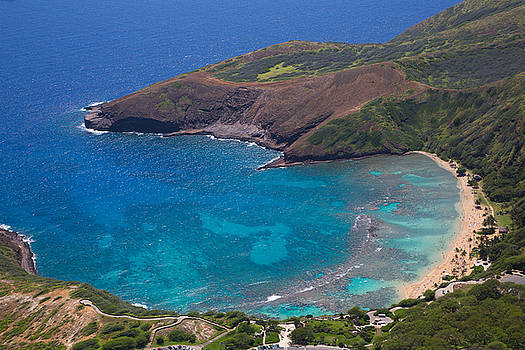 Hanauma Bay Aerial, O'ahu, Hawaii by Kimberly Blom-Roemer