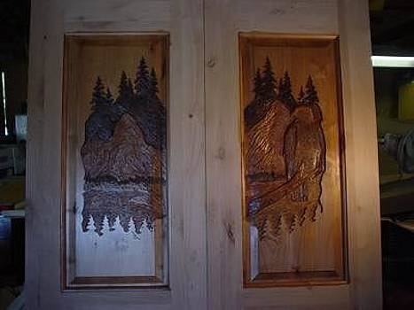 Hand Carved Entry Door  Eagle by Stacey Mitchell