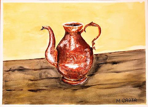 Hand Hammered Copper Pot by Mario Carta