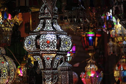 Hand made arabian lamps at the Souq in Marrakech by Martin Wackenhut