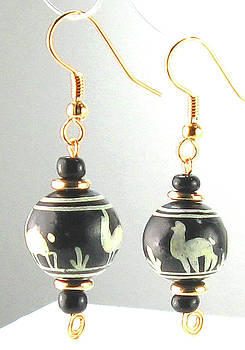 Hand Painted Ceramic Peruvian Llama Beaded Earrings by Vagabond Folk Art - Virginia Vivier