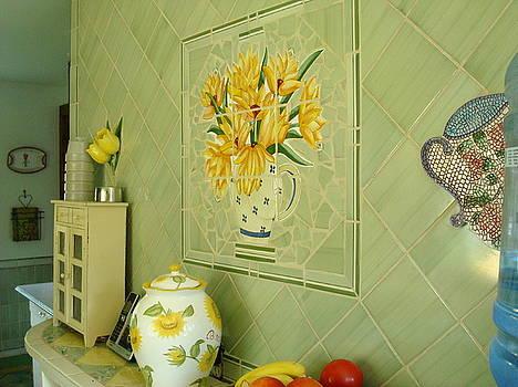 Hand Tiled Kitchen Wall by Robin Miklatek