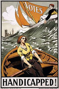 Handicapped Womens suffrage poster, 1915 by Vintage Printery