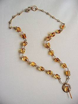 handmade necklace smooth nuggets Madeira citrine and 14k gold filled wire by Nadina Giurgiu