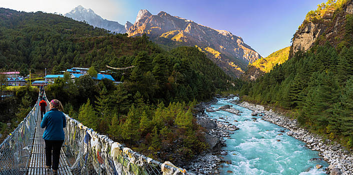 Hanging Bridge Over The Dudh Kosi by Owen Weber