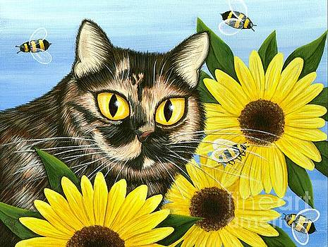 Hannah Tortoiseshell Cat Sunflowers by Carrie Hawks