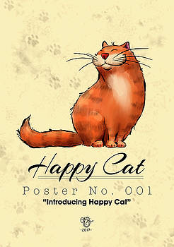 Happy Cat Poster No. 001 - Introducing Happy Cat by Martine Carlsen