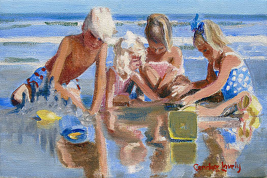 Candace Lovely - Happy Children at the Beach Sketch