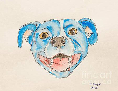 Happy dog blue by Stefanie Forck